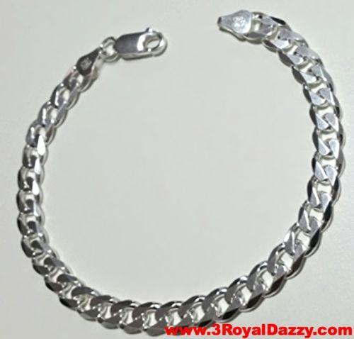 "Men Women Children Sterling Silver Italian Cuban Curb Link Bracelet - 5.5mm 7"" - 3 Royal Dazzy"