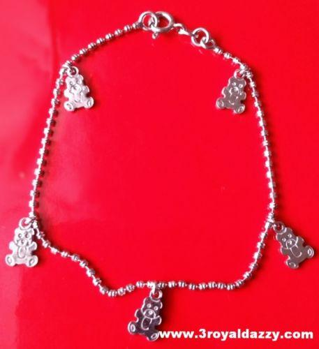 18k white gold layer on 925 Sterling Silver dangling Teddy Bear charms bracelet - 3 Royal Dazzy