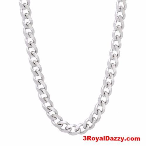 "14k White gold Layer on Solid 925 Sterling Silver Miami Cuban Chain- 2.8 mm- 24"" - 3 Royal Dazzy"