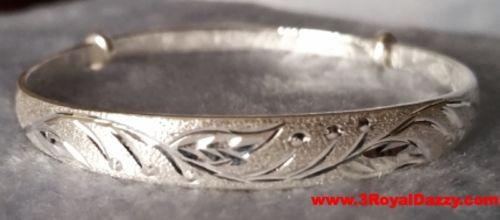 Handmade Leaves Pattern Design 999 Solid Fine Silver Adjustable Bangle - 3 Royal Dazzy