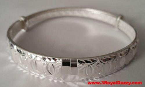 Handmade Fancy One of a Kind Pattern 999 Solid Fine Silver Adjustable Bangle - 3 Royal Dazzy