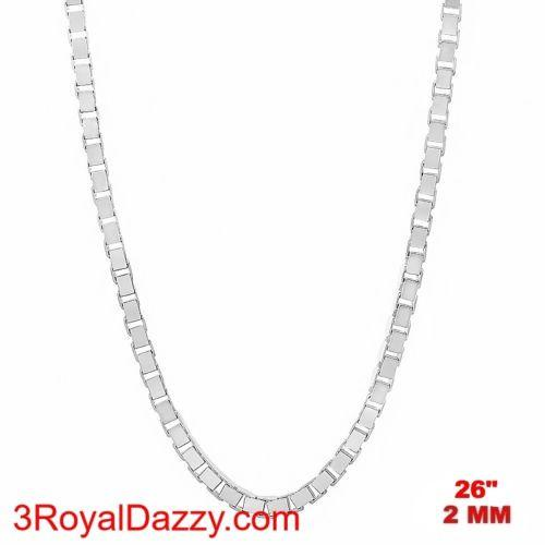"Italy 14k white gold layered over Solid 925 sterling silver Box Chain - 2 mm 26"" - 3 Royal Dazzy"