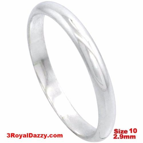 Italy 14k white gold layered on silver polish wedding band ring 2.9mm Size 10 - 3 Royal Dazzy