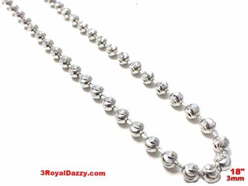 "18k white gold layered over .925 sterling silver moon cut chain 3 mm 18 "" - 3 Royal Dazzy"