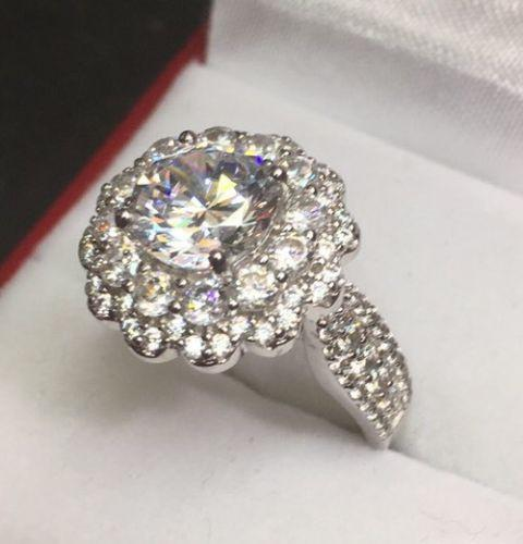 Double Halo Flower 4.00 Ct Zirconia Crystal  Engagement Wedding ring Band Size-6 - 3 Royal Dazzy