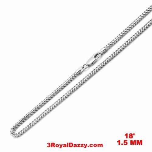 "Attention Getting Fashion Italy Franco Chain .925 Sterling Silver - 1.5 MM 18 "" - 3 Royal Dazzy"