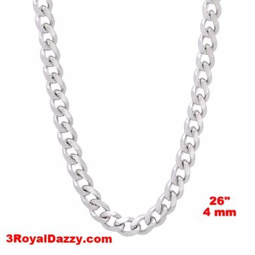 "14k White gold Layer on Solid 925 Sterling Silver Miami Cuban Chain- 4 mm - 26"" - 3 Royal Dazzy"