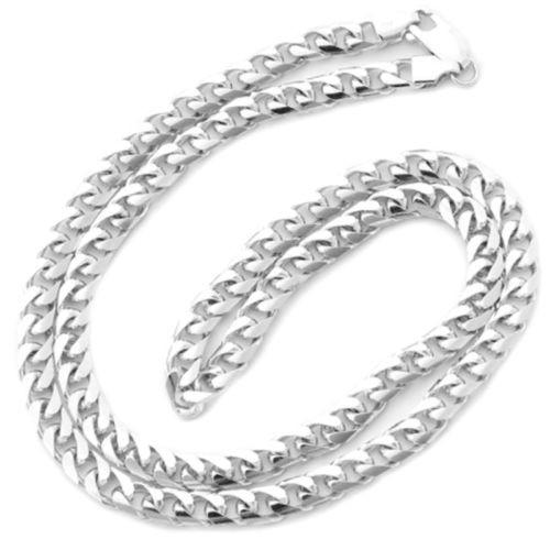 "14k White gold Layer on Heavy 925 Solid Silver Miami Cuban Chain- 6.3 mm - 24"" - 3 Royal Dazzy"