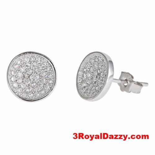 Cool Round Style Micro Pave CZ .925 Sterling Silver Stud Earrings Unisex - 3 Royal Dazzy