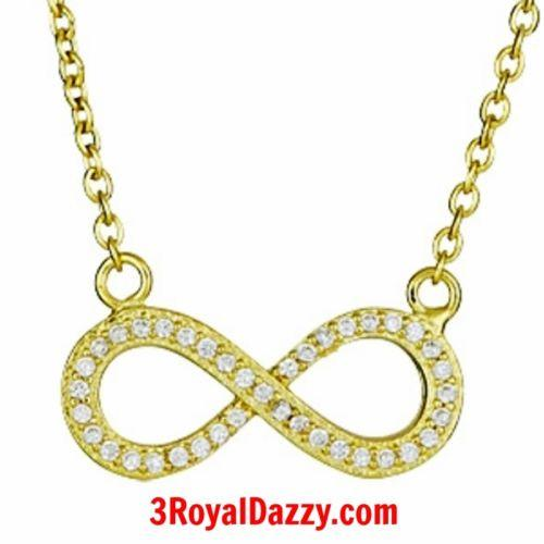 14k Yellow Gold on 925 Sterling Silver Womens Girls Cz Infinity Symbol Pendant - 3 Royal Dazzy
