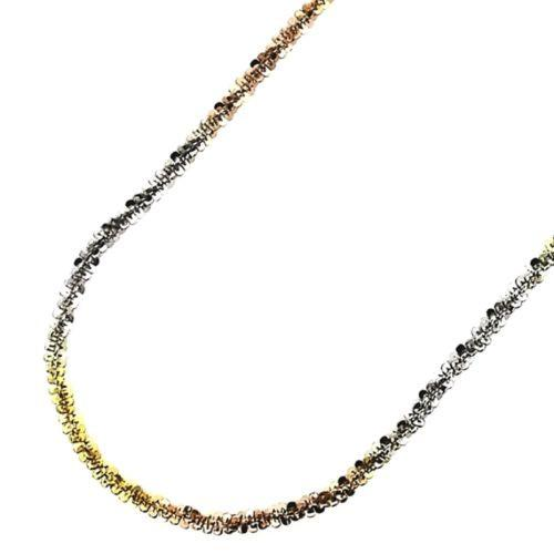 "18k white yellow & rose gold layered on 925 Sterling Silver Rock Chain 1.5mm 18"" - 3 Royal Dazzy"