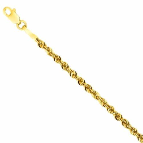 "Italy 14k yellow gold layer on 925 Sterling Silver Classic Rope Chain- 1.5MM 20"" - 3 Royal Dazzy"