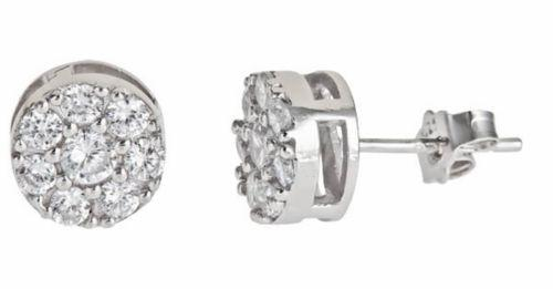 Brilliant Round Cut Micro Pave Stud CZ  18k white gold layer 925 Earring Unisex - 3 Royal Dazzy