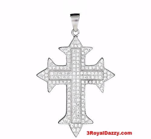 18k layer over Sterling Silver gothic cross pendent heavy with Micro Pave CZ set - 3 Royal Dazzy