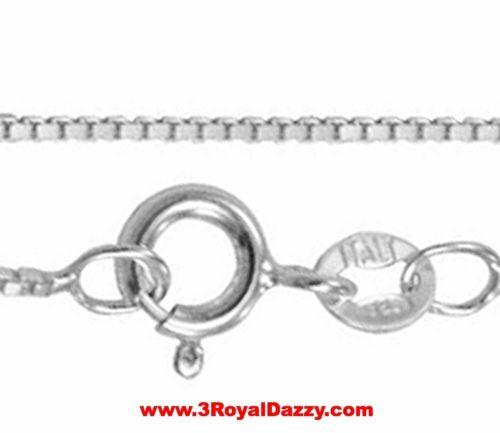 "New Italian Solid Anti Tarnish .925 sterling silver box link chain - 1 mm 16 "" - 3 Royal Dazzy"