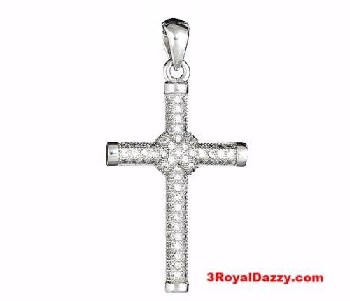 Shiny Cross Pendant Micro Pave CZ .925 Sterling Silver 18k white gold layered - 3 Royal Dazzy