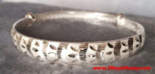 Handmade Glamorous Finely Detailed 999 Solid Fine Silver Adjustable Bangle - 3 Royal Dazzy
