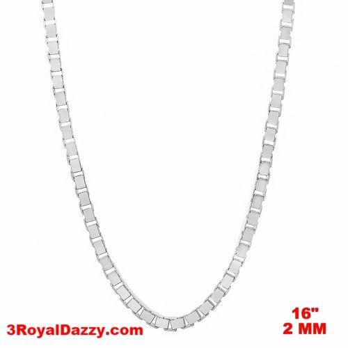 "Italy 14k white gold layered over Solid 925 sterling silver Box Chain - 2 mm 16"" - 3 Royal Dazzy"