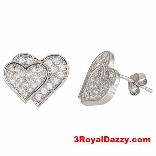 Heart on heart 18k white gold .925 Sterling Silver CZ Earrings - 3 Royal Dazzy