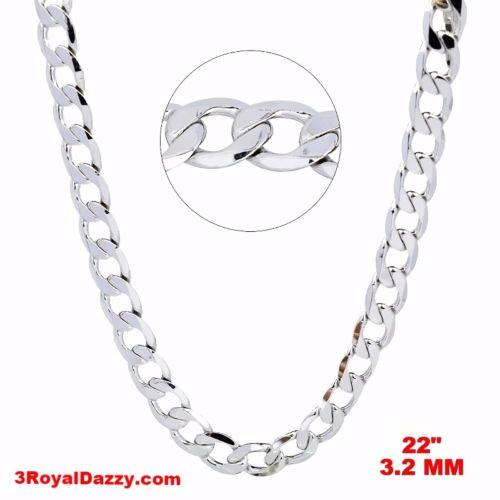 "New Italian 14k White gold Rhodium on 925 Sterling Silver Curb Chain- 3.2mm- 22"" - 3 Royal Dazzy"