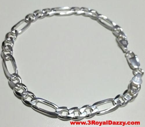 "Men Women Children Solid Sterling Silver Italian Figaro Link Bracelet 6.5mm 7"" - 3 Royal Dazzy"