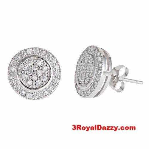 Halo round multi micro CZ stones .925 Sterling Silver Stud Earrings Unisex - 3 Royal Dazzy