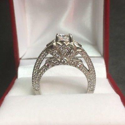 New Vintage Antique High Set Zirconia Crystal  Engagement Wedding ring Band S-7 - 3 Royal Dazzy