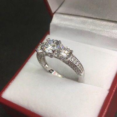 New Past Present Future Zirconia Crystal  Engagement Wedding ring Band Size-7 - 3 Royal Dazzy
