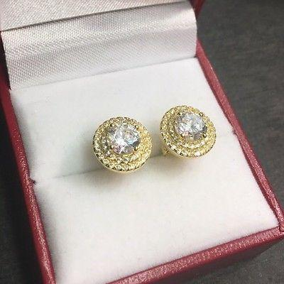 New Halo Set Cubic Zirconia 14k Yellow Gold On Sterling Silver  earring 10 mm - 3 Royal Dazzy
