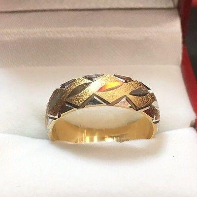New 14k Solid Yellow & White Two Tone Diamond Cut 6mm Gold ring- 5.0g Size - 7.5 - 3 Royal Dazzy