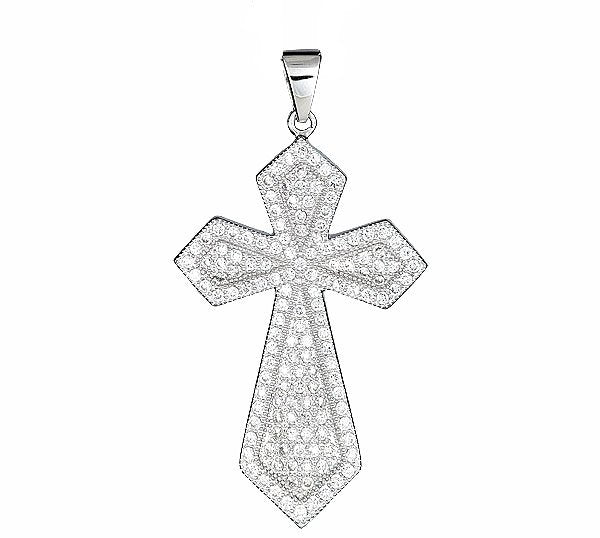 18k layered over Sterling Silver Christian Cross pendent heavy with Micro Pave CZ setting