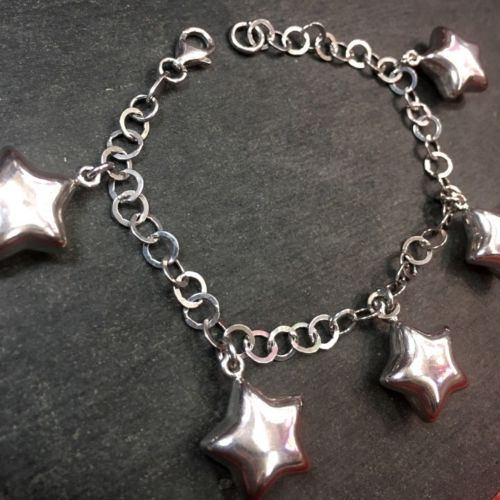 14k Layer On Solid 925 Silver Hollow Star Dangling Charms Link Bracelet - 7.5""