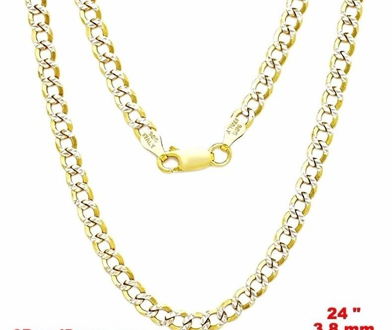Italy diamond-cut 14k white & yellow gold layered over.925 silver 3.8mm Curb 24""