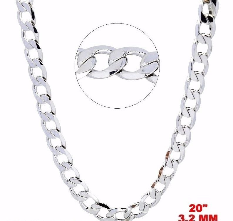 New Italian 14k White gold Rhodium on 925 Sterling Silver Curb Chain- 3.2mm- 20""