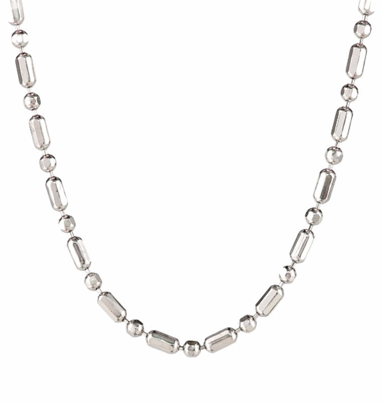 "18k white gold layered over .925 sterling silver 1+1 diamond cut chain- 1.6 mm 20 ""inches"