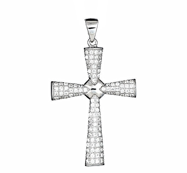 18k layered over .925 Silver Christian Cross pendent half round with Micro Pave CZ setting
