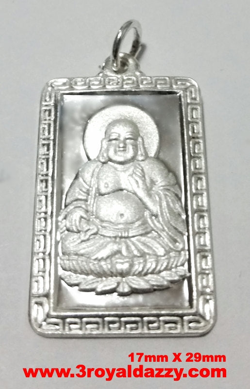 Happy Laughing Fat Male Buddha 999 fine Silver Rectangle Meditation Pendant charm