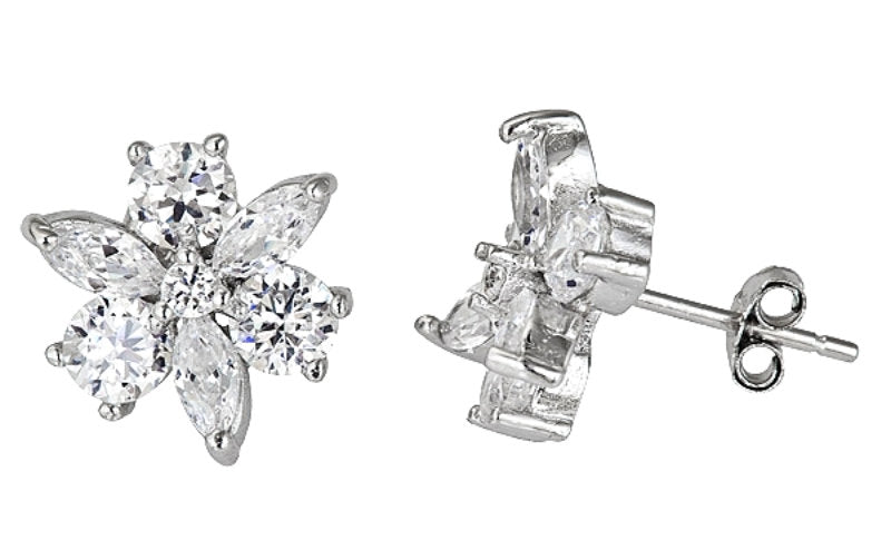 18k w gold layer Flower design on .925 Sterling Silver CZ Micro Pave Earrings