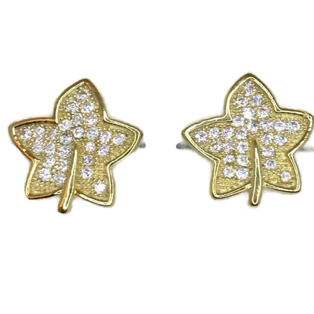 Yellow Gold on Silver Studs Earrings 5 point leaf with round white CZ