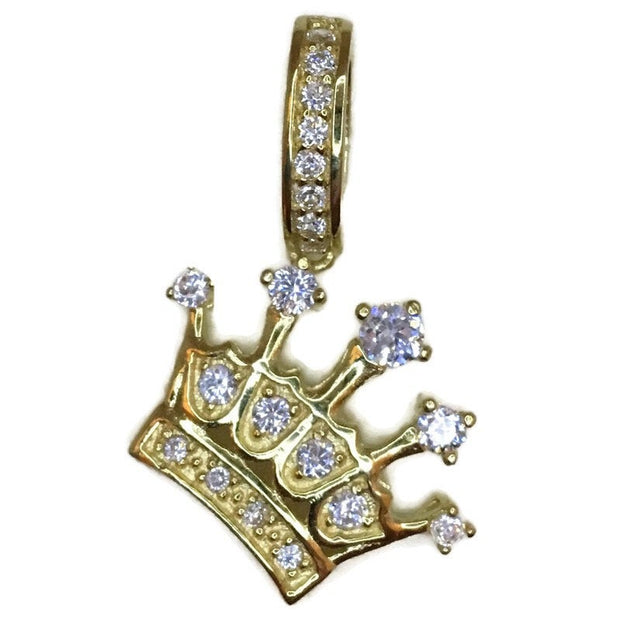 Yellow Gold on Silver Pendant Crown with round white CZ