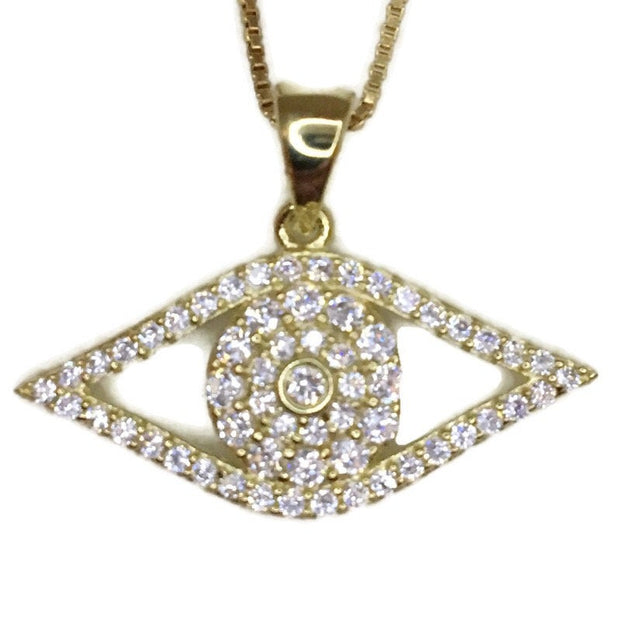 Yellow Gold on Silver Pendant Evil Eye with round white CZ