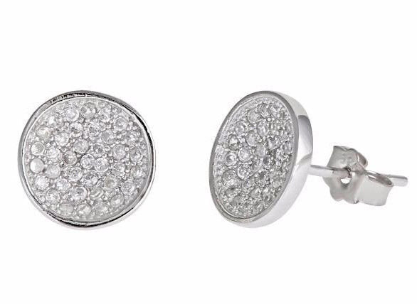 New cool round style micro pave cz .925 sterling silver stud earrings unisex