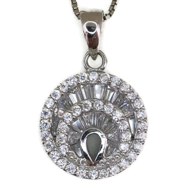 White Gold layer Silver Pendant round & white tapered baguette CZ