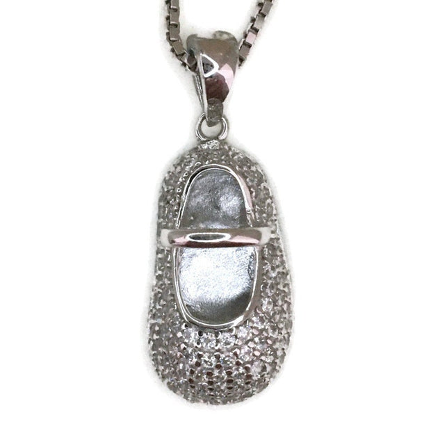 White Gold layer Silver Pendant shoe & white round CZ