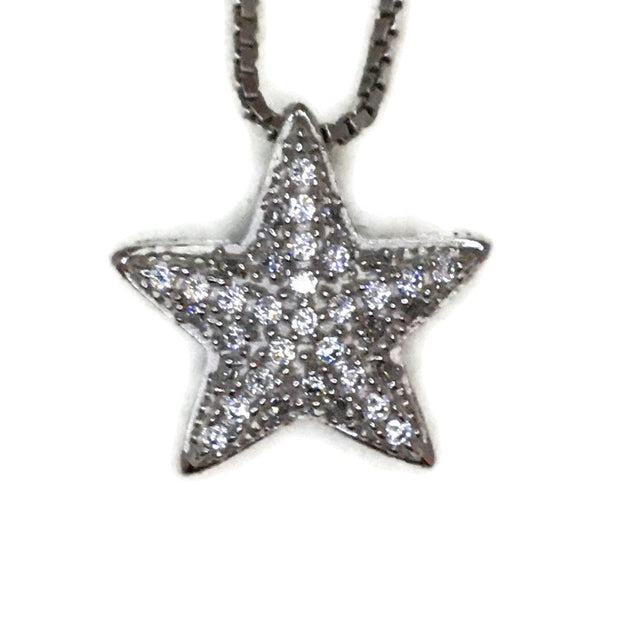 White Gold layer Silver Pendant small sea star & white round CZ