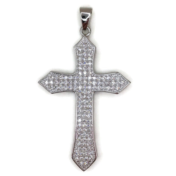 White Gold layer Silver Pendant pointy Cross and white round CZ