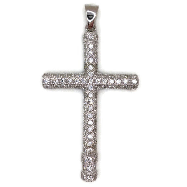 White Gold layer Silver Pendant simple Cross and white round CZ