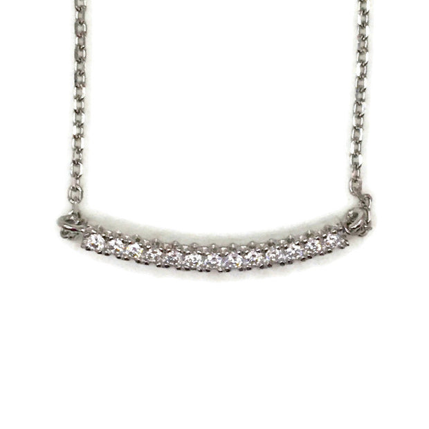 White Gold layer Silver Pendant row strip & white round CZ
