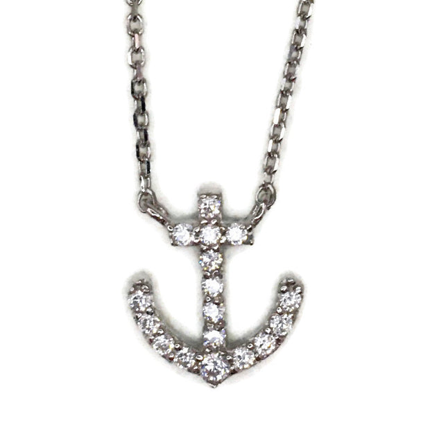 White Gold layer Silver Pendant small ship anchor & white round CZ