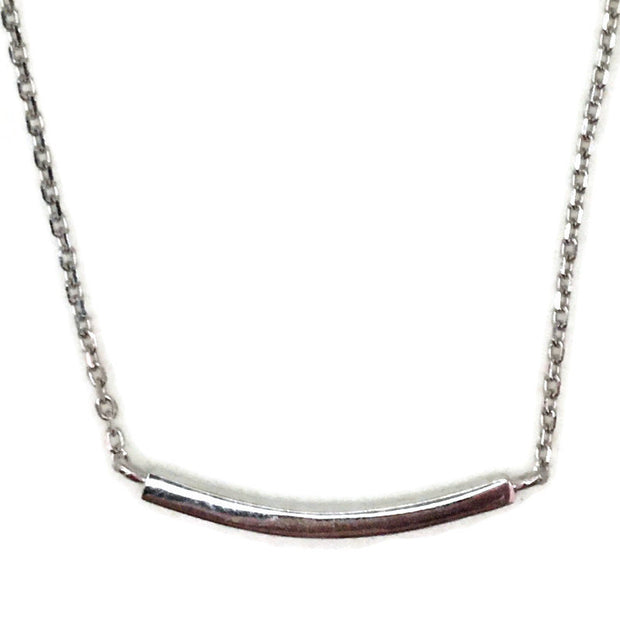 White Gold layer Silver Pendant Necklace smooth strip